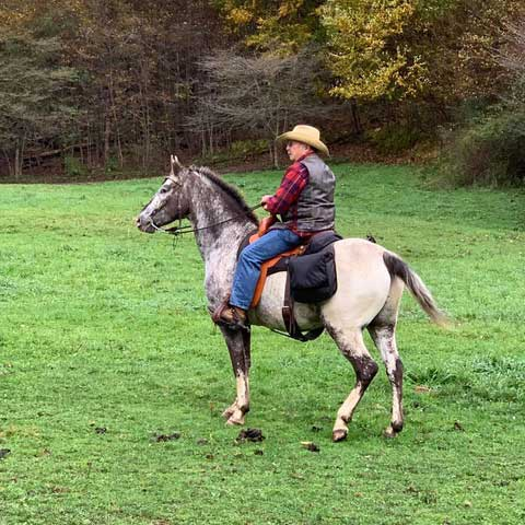 James Coulson of Strattanville, PA riding with the Classic Trail Saddle.