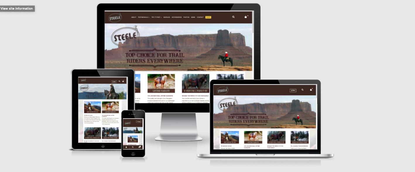 The Steele Saddle Website on Mobile, Tablet, Laptop, and Desktop